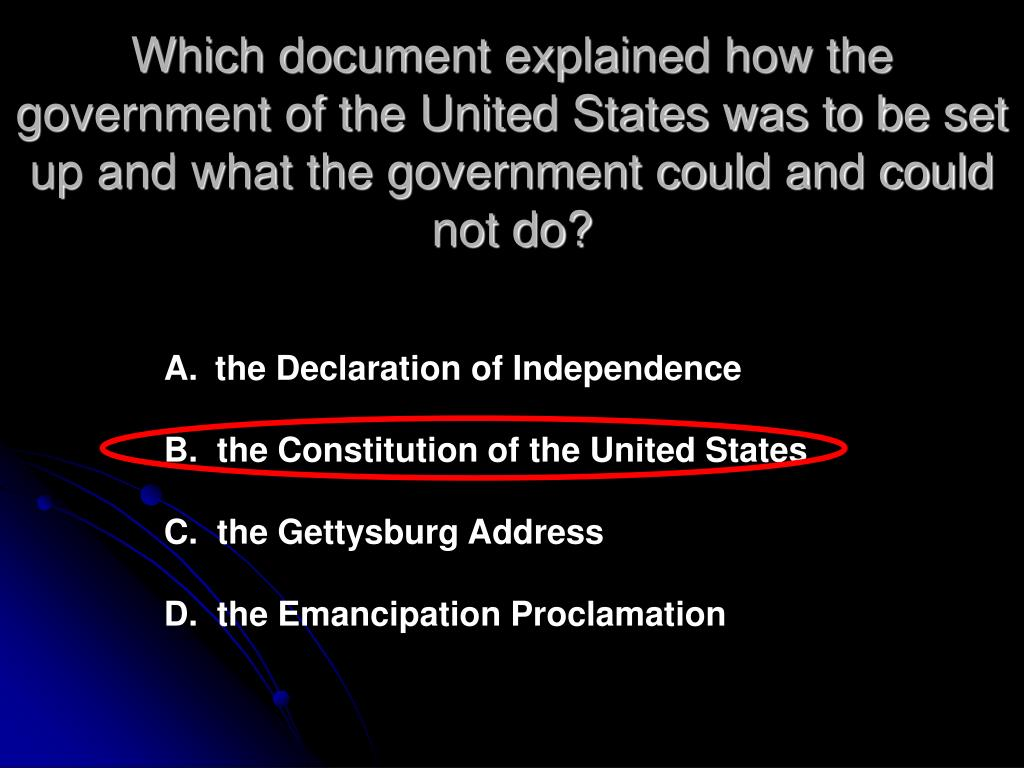 Which document explained how the government of the United States was to be set up and what the government could and could not do?