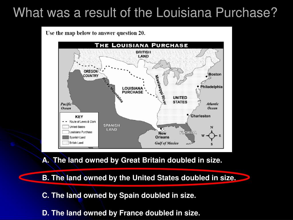 What was a result of the Louisiana Purchase?