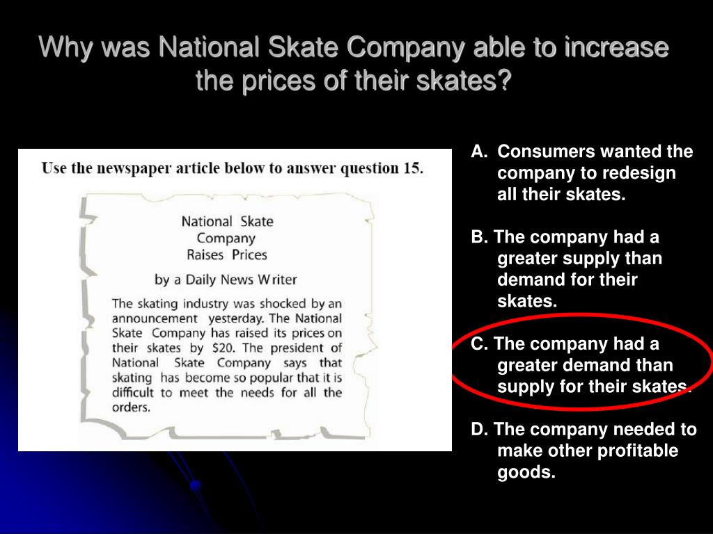 Why was National Skate Company able to increase the prices of their skates?