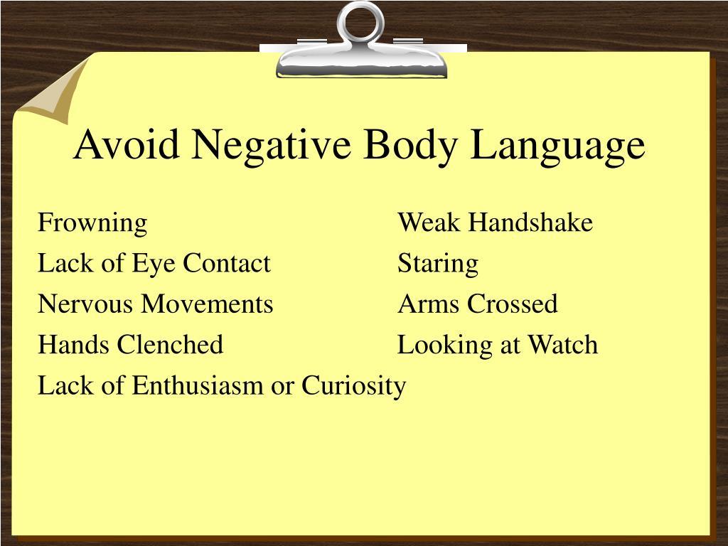 Avoid Negative Body Language