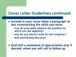 cover letter guidelines continued