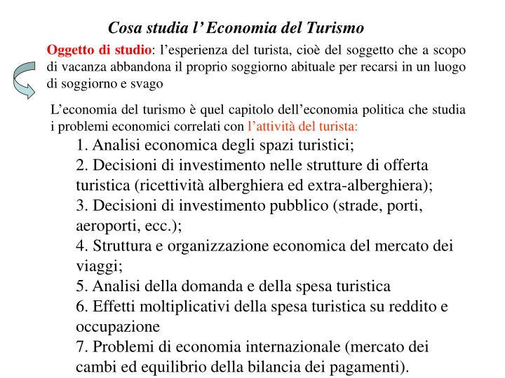 Cosa studia l' Economia del Turismo