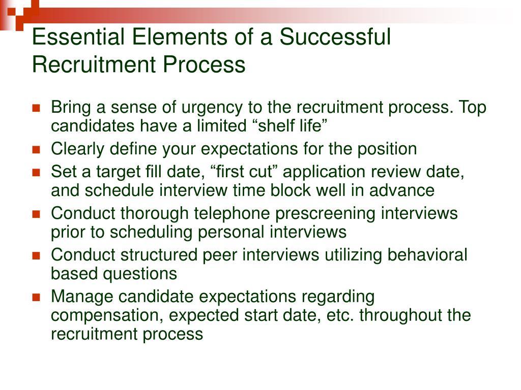 Essential Elements of a Successful Recruitment Process