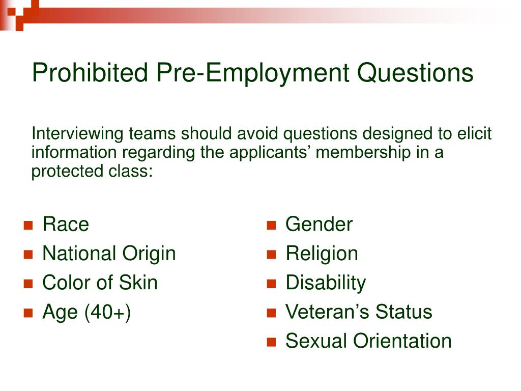 Prohibited Pre-Employment Questions