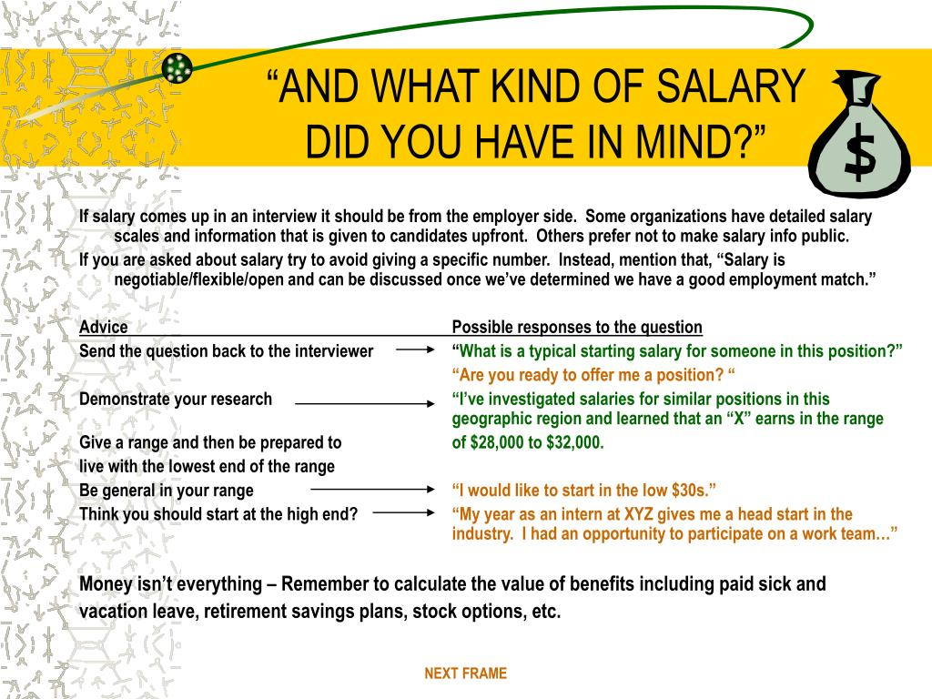 """""""AND WHAT KIND OF SALARY"""