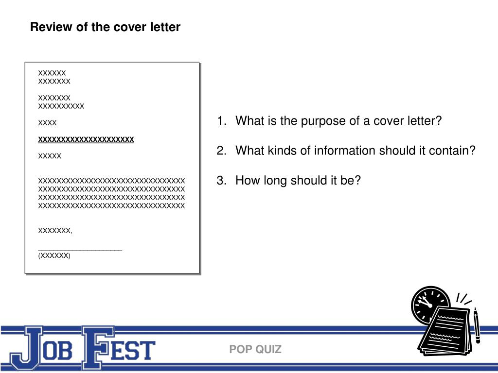 Review of the cover letter