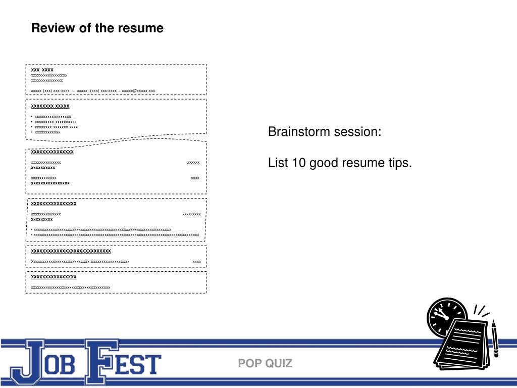 Review of the resume