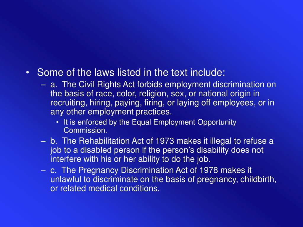 Some of the laws listed in the text include: