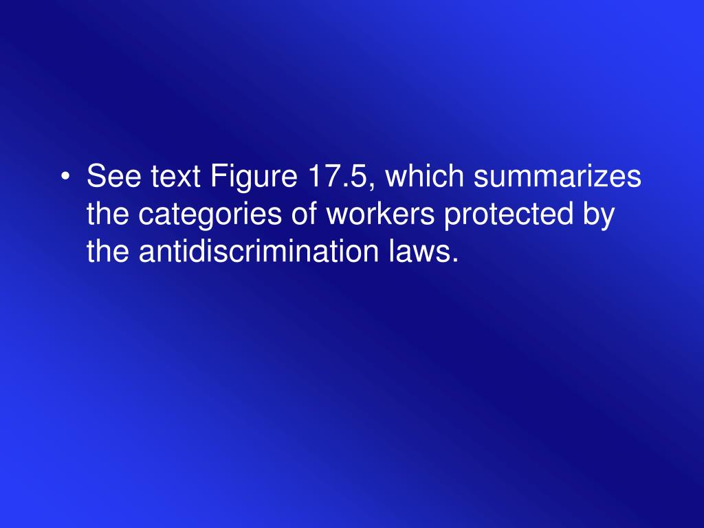 See text Figure 17.5, which summarizes the categories of workers protected by the antidiscrimination laws.