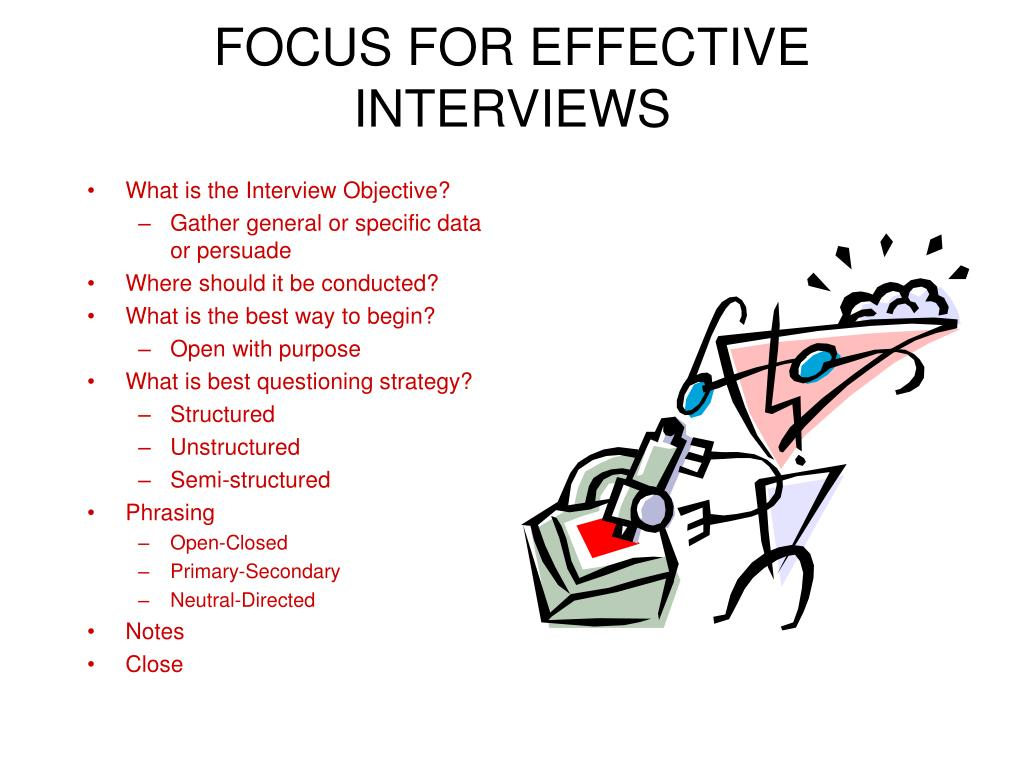 FOCUS FOR EFFECTIVE INTERVIEWS