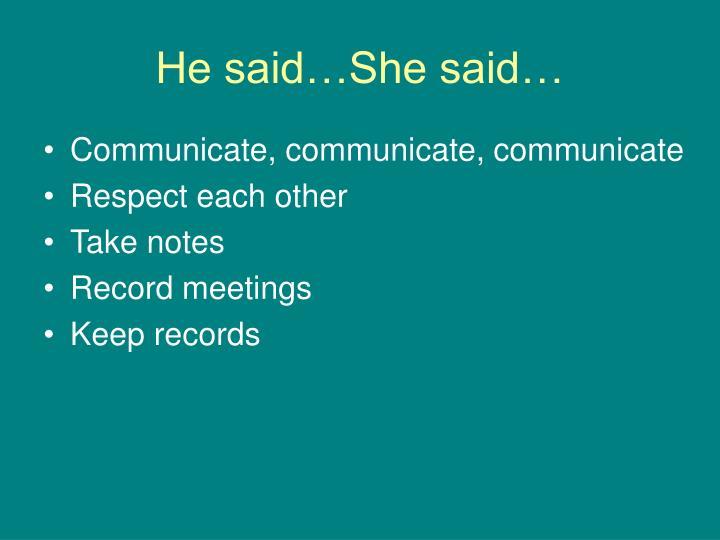 He said…She said…