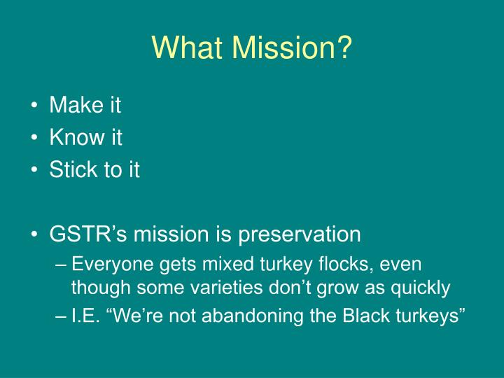 What Mission?