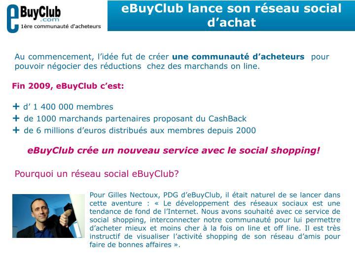 eBuyClub lance son réseau social d'achat