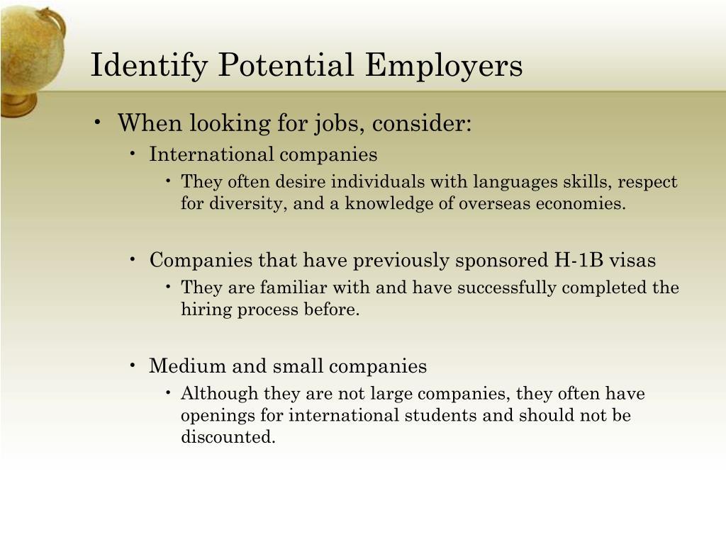 Identify Potential Employers
