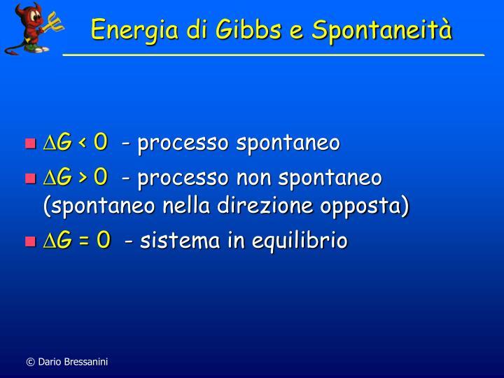 Energia di Gibbs e Spontaneità