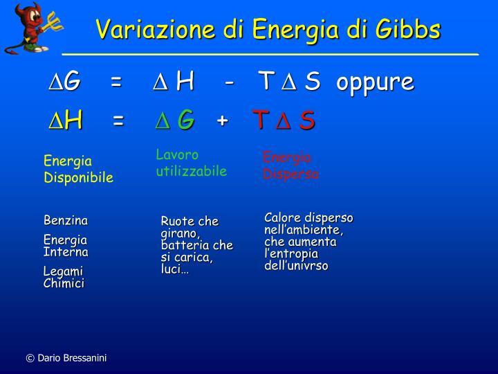 Variazione di Energia di Gibbs