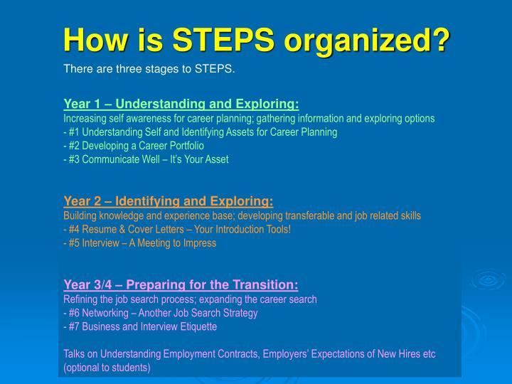 How is steps organized