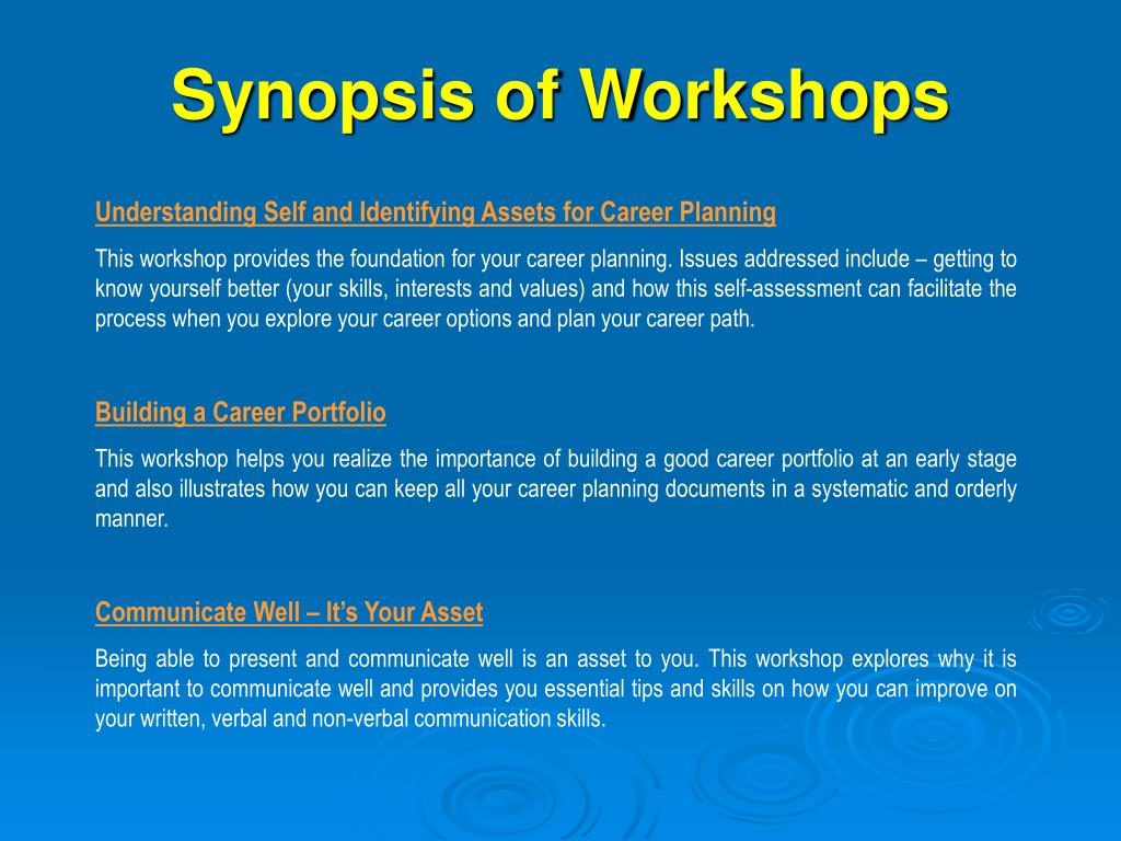 Synopsis of Workshops