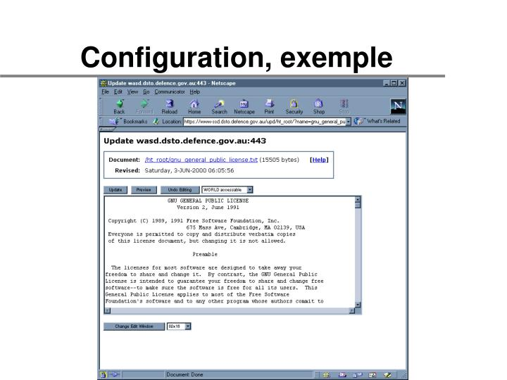 Configuration, exemple