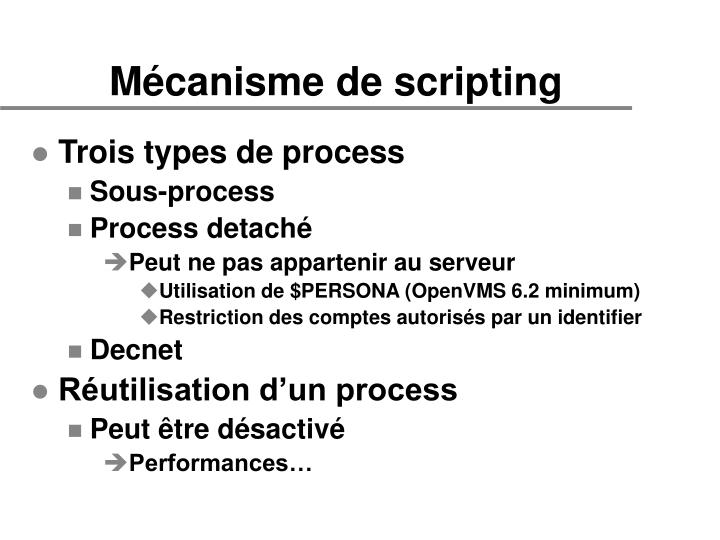Mécanisme de scripting