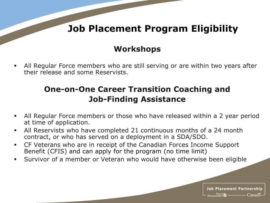 Job Placement Program Eligibility