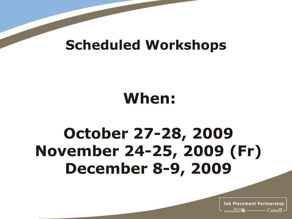 Scheduled Workshops