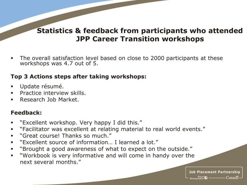 Statistics & feedback from participants who attended JPP Career Transition workshops