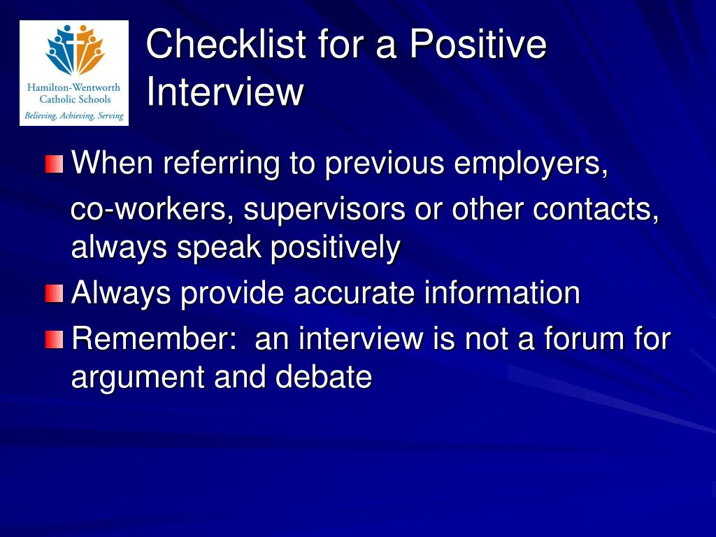 Checklist for a Positive Interview