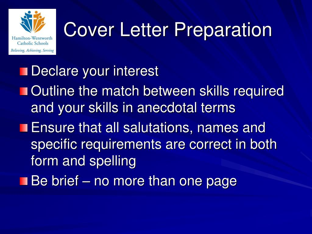 Cover Letter Preparation