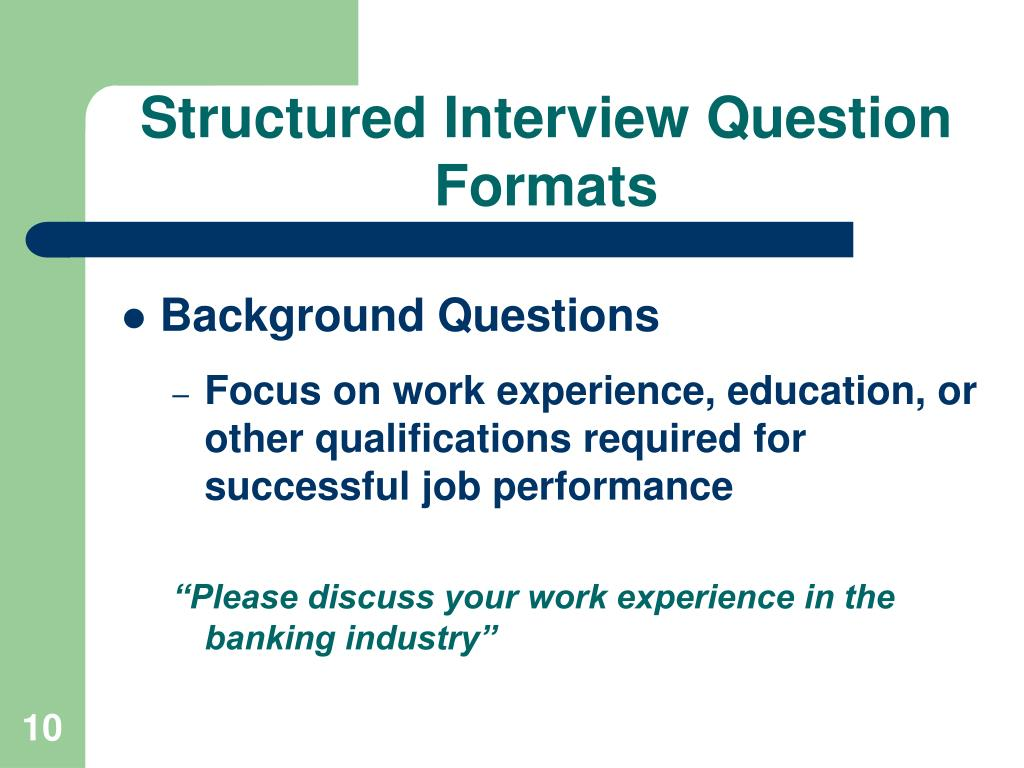 Structured Interview Question Formats