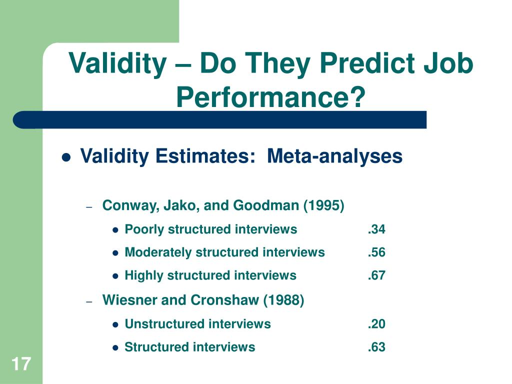 Validity – Do They Predict Job Performance?