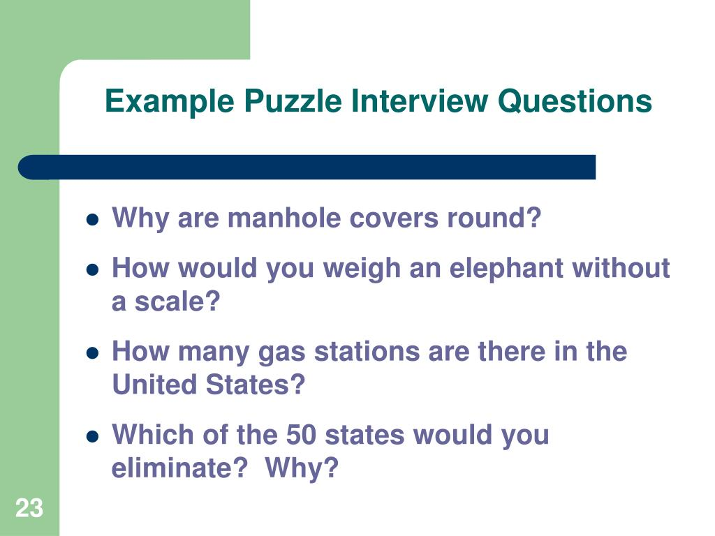 Example Puzzle Interview Questions