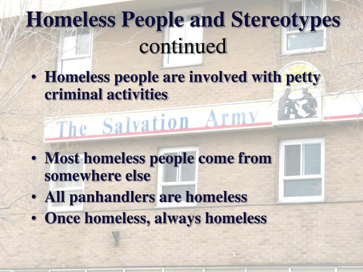 Homeless People and Stereotypes