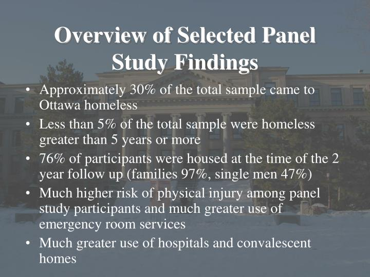 Overview of Selected Panel Study Findings