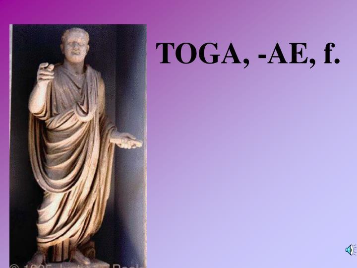TOGA, -AE, f.