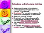 reflections on professional activities