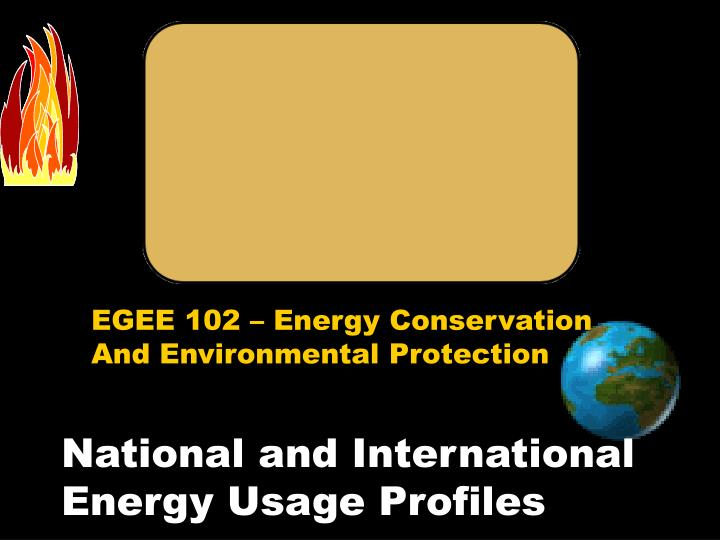 National and international energy usage profiles