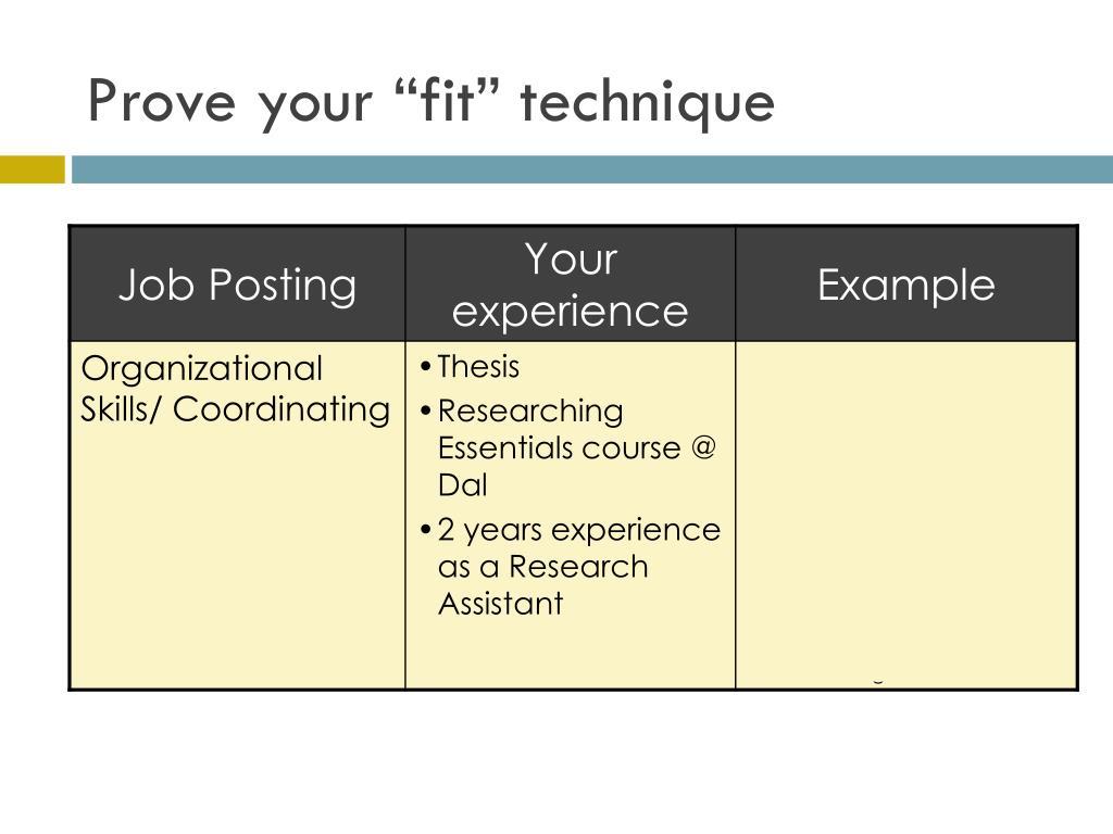 """Prove your """"fit"""" technique"""