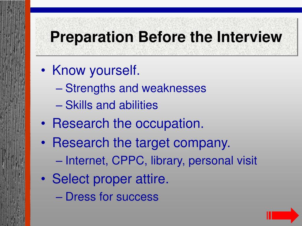 Preparation Before the Interview