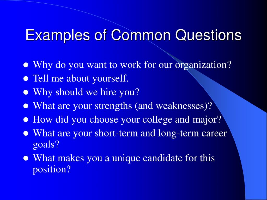 Examples of Common Questions