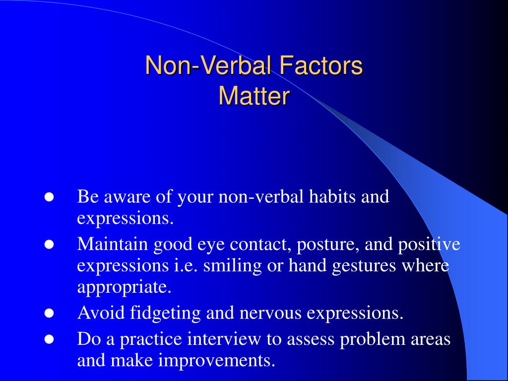 Non-Verbal Factors