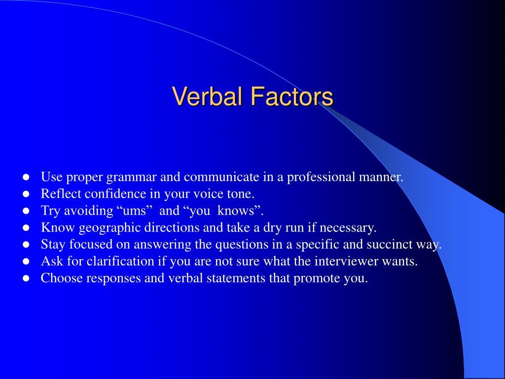 Verbal Factors