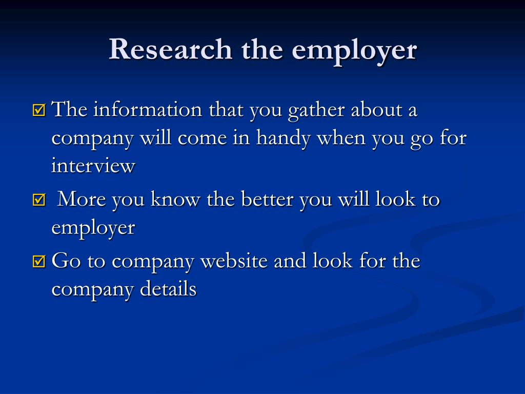 Research the employer