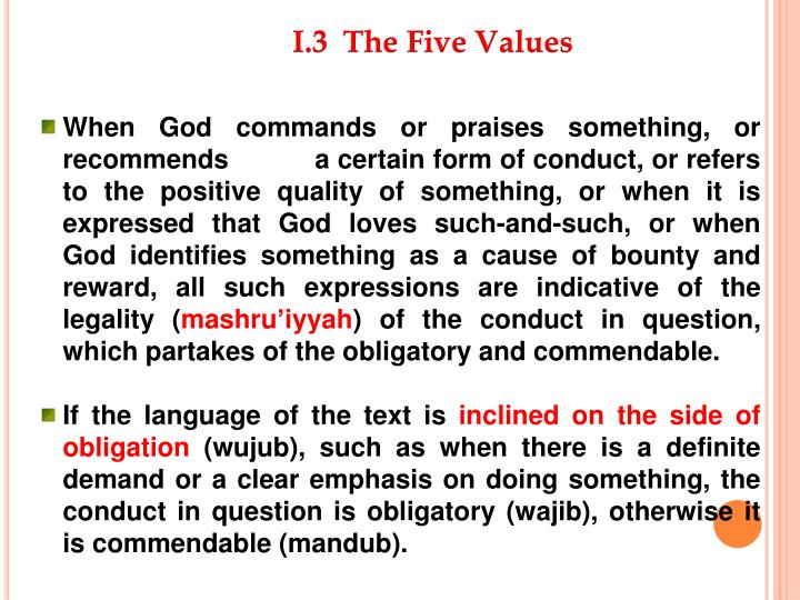 I.3  The Five Values