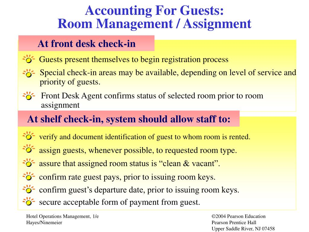 Accounting For Guests:                                      Room Management / Assignment