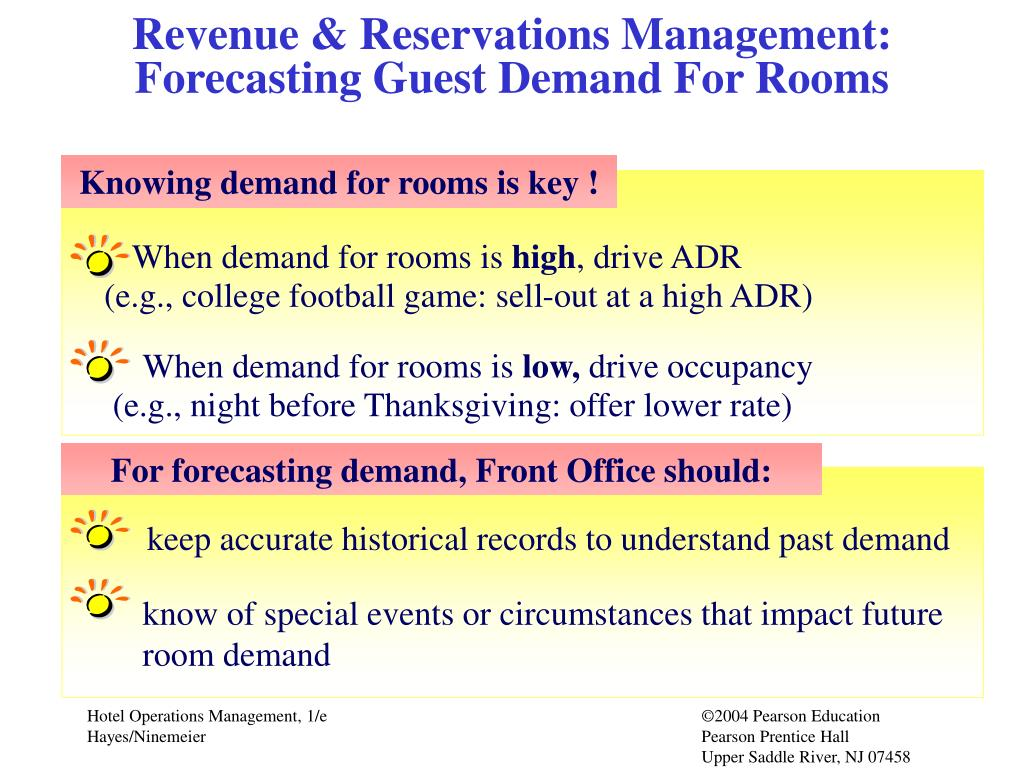 Revenue & Reservations Management:  Forecasting Guest Demand For Rooms