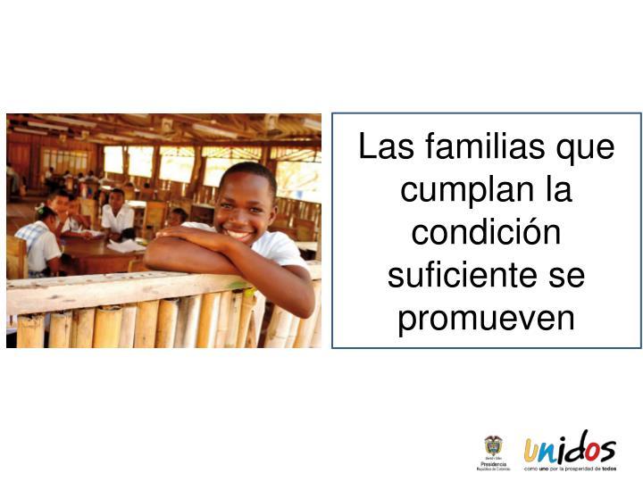 Las familias que cumplan la condición suficiente se promueven