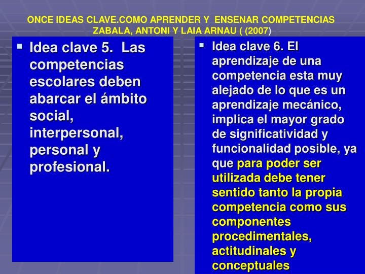ONCE IDEAS CLAVE.COMO APRENDER Y  ENSENAR COMPETENCIAS