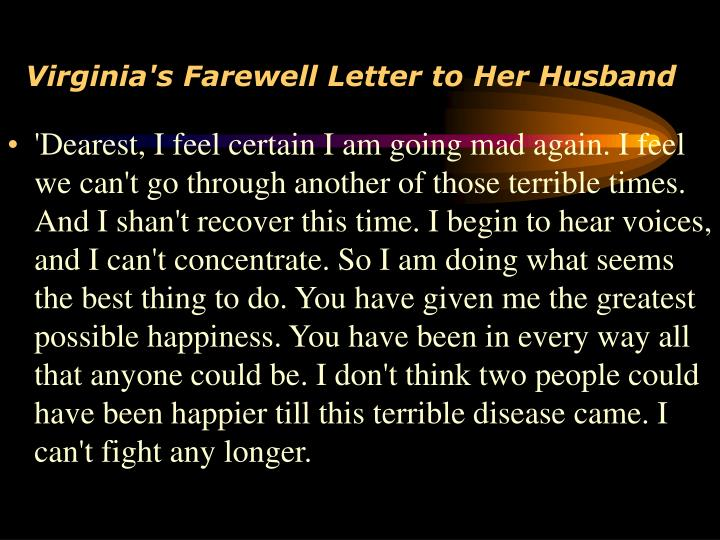 Virginia's Farewell Letter to Her Husband