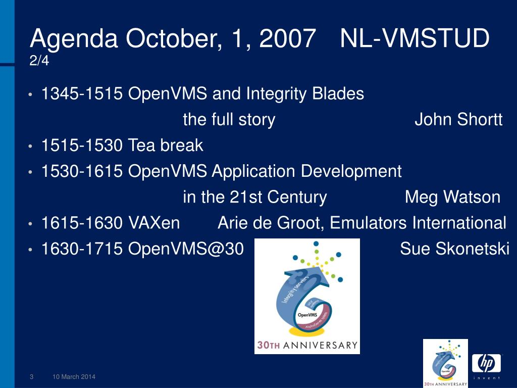 Agenda October, 1, 2007	NL-VMSTUD